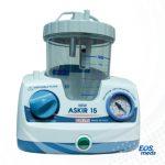 Aspirador de Secreciones CA-MI New Askir 15 con Frasco de 1000 ml de Policarbonato MAKROLON® 2858 flujo máximo 15 l/min